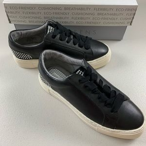 Com + Sens Black Leather Lace Up Slip On Loafers